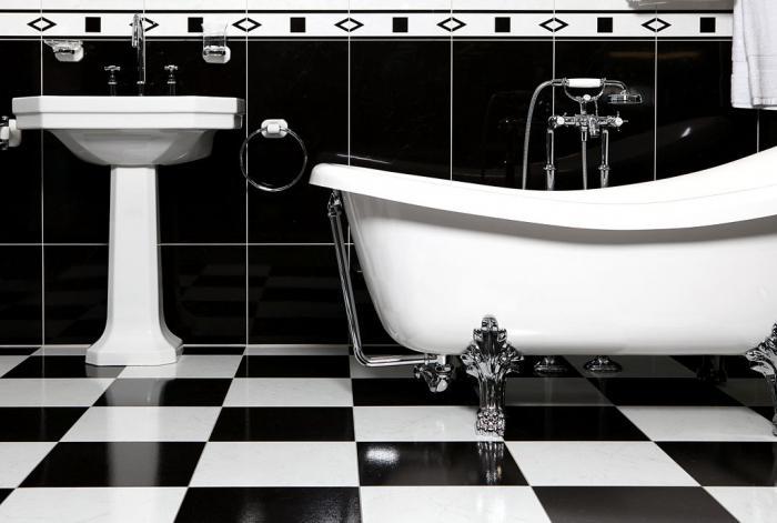 монохромные варианты комнаты для водных процедур